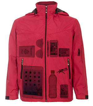 Global Travel Windbreaker Jacket Xray Photo with Pockets